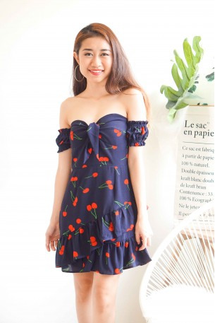 Cherry Bombshell Off Shoulder Dress