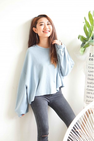 (BACKORDER) Peace Me Off Oversized Sweater in Blue