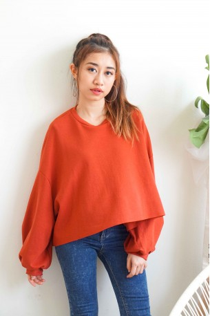 (BACKORDER) Peace Me Off Oversized Sweater in Red