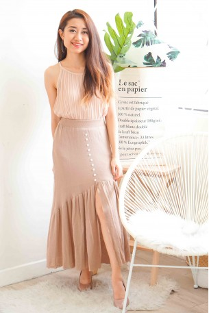 Young & Modest Nude Knitted Fishtail Skirt