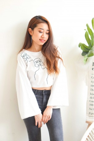 Three Many Faces White Oversized Top