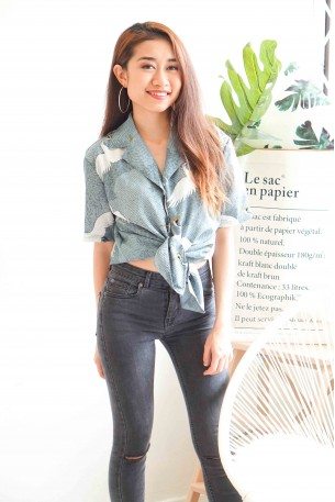 (BACKORDER) Ying to My Yang Statement Blue Collar Top