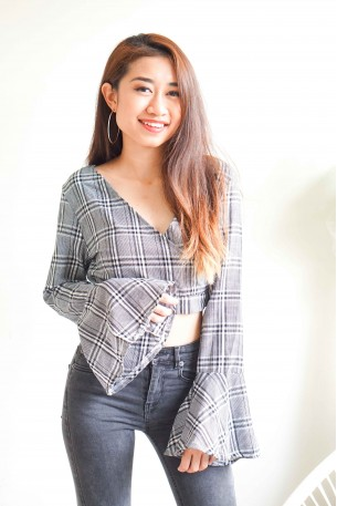Bite Back Checkered Bell Sleeve Top