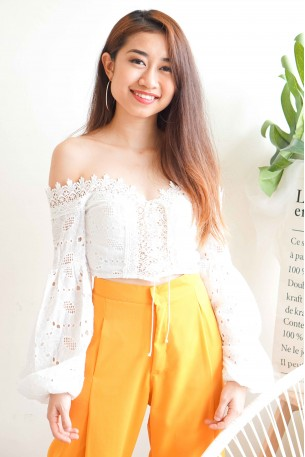 Sugar Blessings Lace Up Off Shoulder Top in White