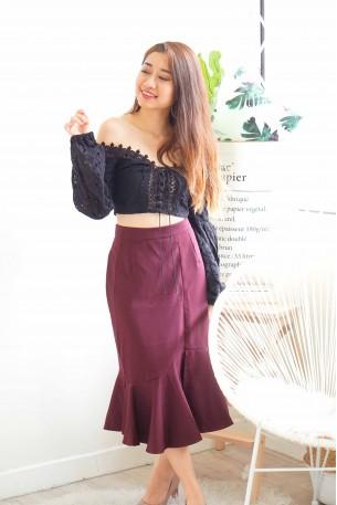 Wine Not Maroon Fishtail Skirt
