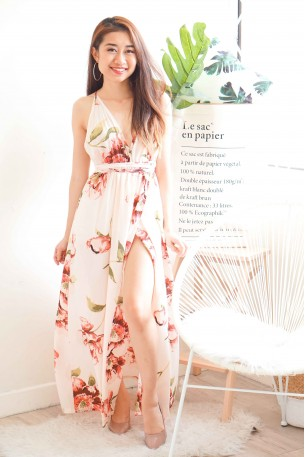 Angel's Halo White Crossback Floral Maxi Dress