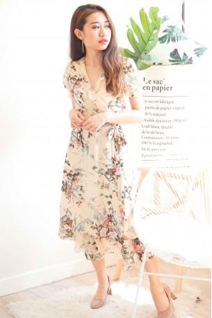 (BACKORDER) Keen On Love Beige Floral Self Tied Dress