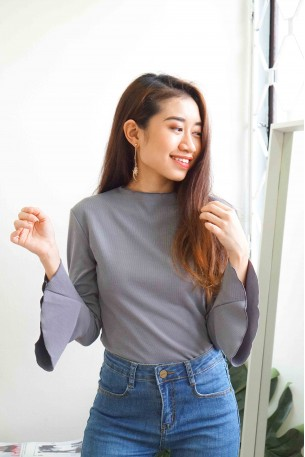 (BACKORDER) Stay Grounded Trumpet Sleeves Top in Light Blue