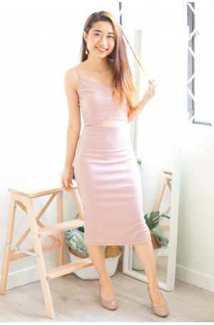 Romy Cutout Toga Dress in Pink