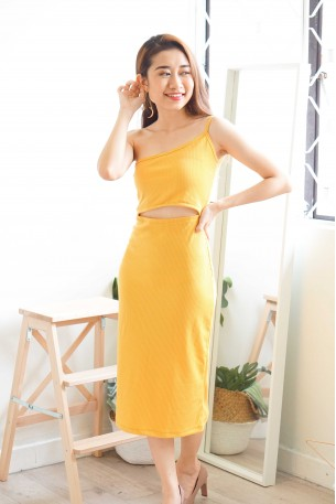 Romy Cutout Toga Dress in Yellow