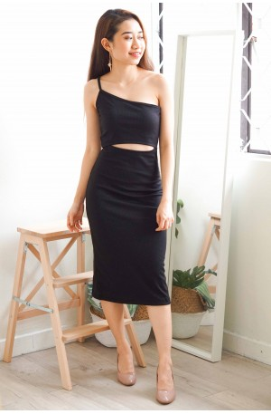 Romy Cutout Toga Dress in Black