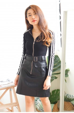 Steal The Show Black Leather Skirt