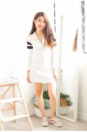 Mean Angel White Zipper Bodycon Dress