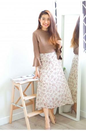 Sweetest Scenario Floral Midi Skirt in White