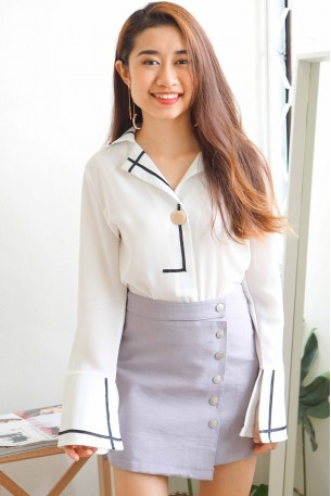 (BACKORDER) First Walk White Blouse with Black Lining