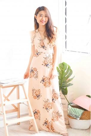 (BACKORDER) Loving Vows Beige Floral Maxi Dress