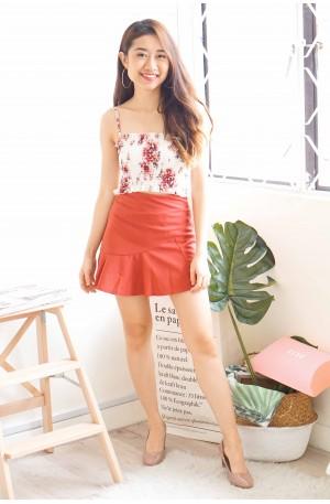 Miss Petite Brick Red Ruffle Mini Skirt