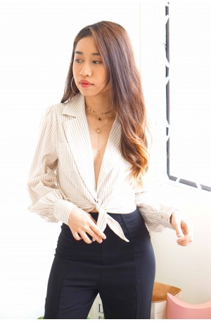(BACKORDER) Tie Me A River White Stripes Front Tie Top
