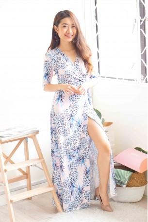 Demure The Merrier Blue Floral Maxi Dress