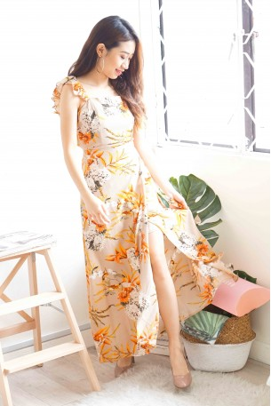 (BACKORDER) Reality Like Dreams Khaki Floral Maxi Dress