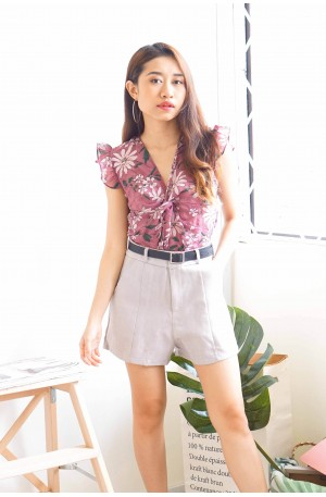 Trend-Setter Grey High-Waisted Shorts