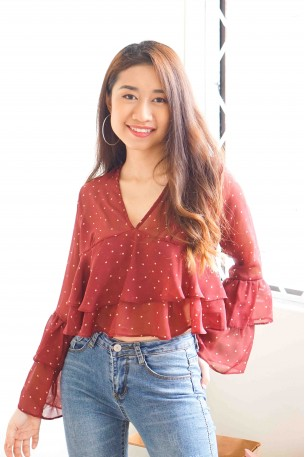 (BACKORDER) While It Lasted Polkadot Layered Top in Maroon