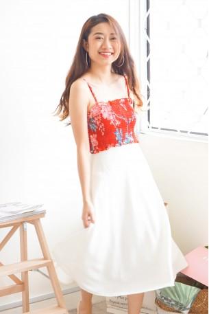 One For Us White Midi Skirt