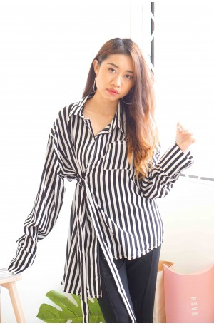 Hit Or Miss Stripes Ribbon Blouse