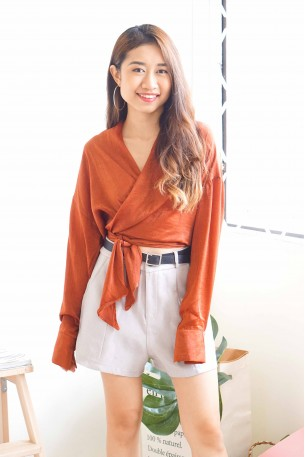 (BACKORDER) Sassy and Classy Satin Top in Brick Red