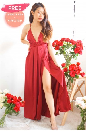 Angel's Halo High Slit Maxi in Red