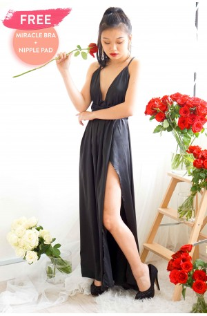 Angel's Halo High Slit Maxi in Black