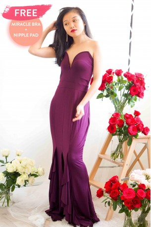 All That Glamour Deep V Dress in Magenta