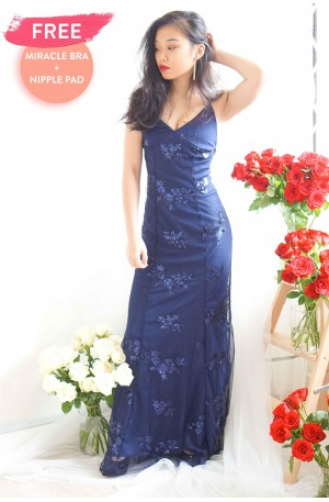 Everlasting Glam Crossback Maxi Dress in Blue