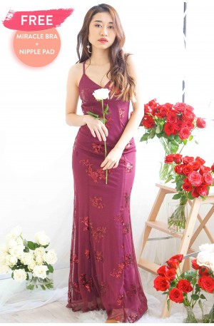 Everlasting Glam Crossback Maxi Dress in Maroon