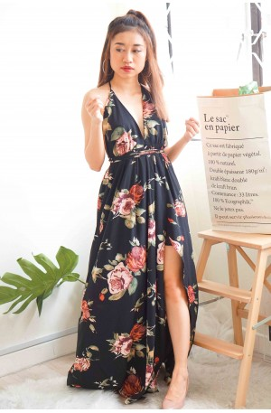 (BACKORDER) Fairy's Halo Black Floral Maxi Dress