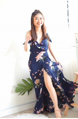 Breath of Lilies Drape Shoulder Maxi Dress