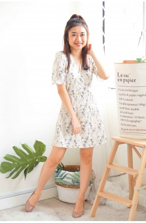 (BACKORDER) Spring Whispers White Floral Self Wrap Dress