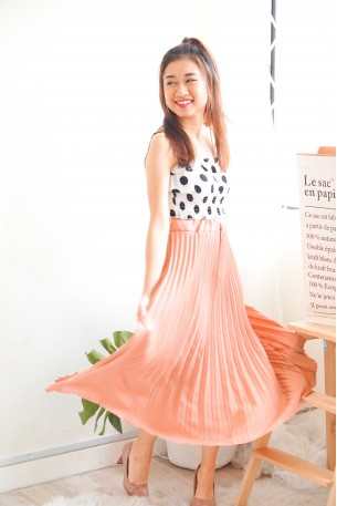 Soft Glance Pink Pleated Skirt