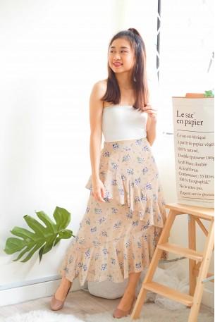 Garden Keeper Beige Floral Ruffles Skirt