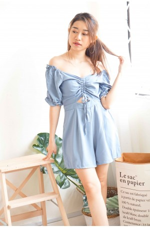 Quirky Calls Off Shoulder Jumpsuit in Blue