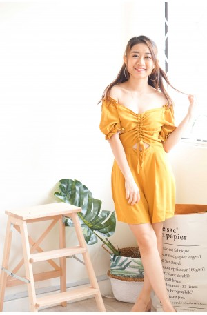 Quirky Calls Off Shoulder Jumpsuit in Yellow