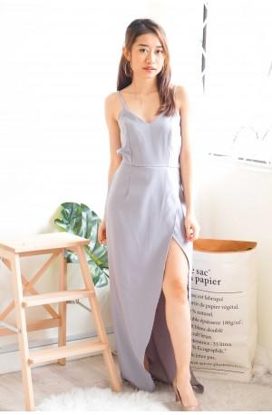 Wishful Thinker Plain Maxi Slit Dress in Lilac