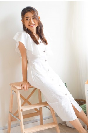 Soft Affection Button Down Dress in White