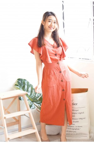 Soft Affection Button Down Dress in Brick Red