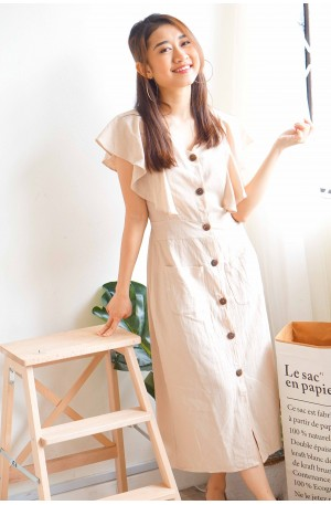 Soft Affection Button Down Dress in Khaki