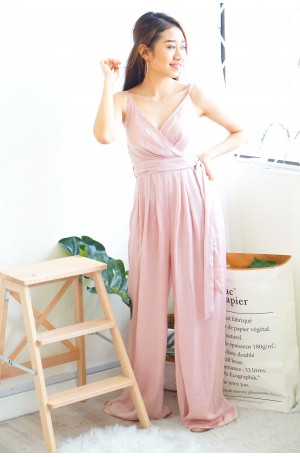 Rosy Gloss Pink Satin Maxi Jumpsuit