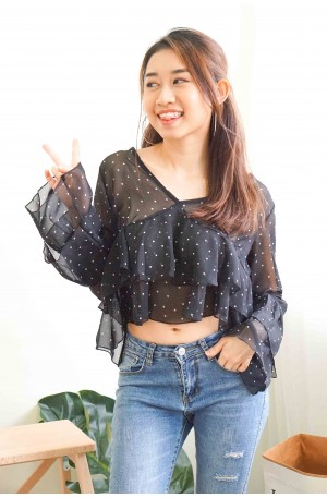 While It Lasted Polkadot Layered Top in Black