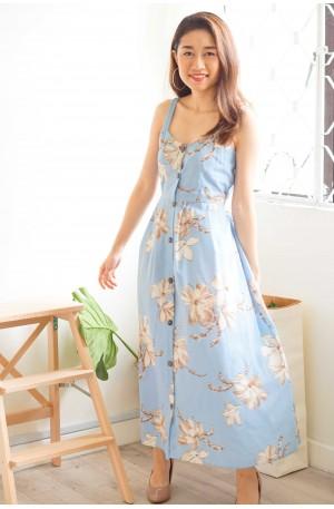 Summer High Button Down Midi Dress in Blue Floral