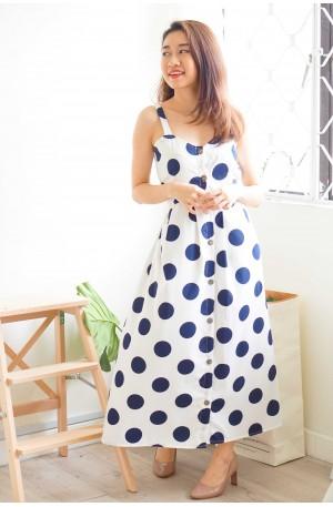 Summer High Button Down Midi Dress in Polkadot