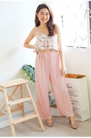 State of Dream Pink Pleated Pants